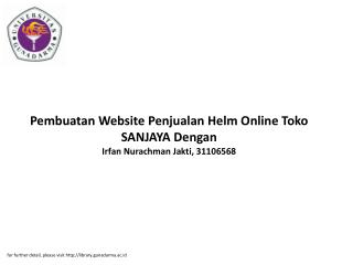 Pembuatan Website Penjualan Helm Online Toko SANJAYA Dengan Irfan Nurachman Jakti, 31106568