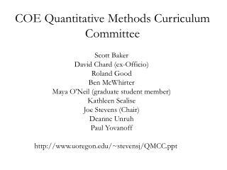 COE Quantitative Methods Curriculum Committee