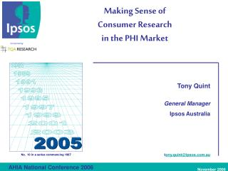 Making Sense of  Consumer Research in the PHI Market