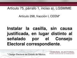 Artículo 75, párrafo 1, inciso a), LGSMIME Artículo 298, fracción I, CEEM*