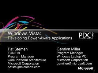 Windows Vista:  Developing Power-Aware Applications