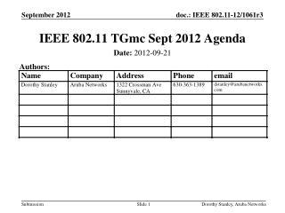 IEEE 802.11 TGmc Sept 2012 Agenda