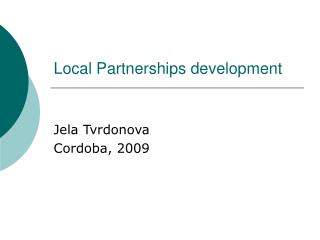 Local Partnerships development
