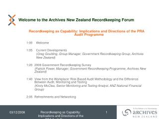 Welcome to the Archives New Zealand Recordkeeping Forum