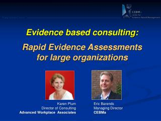 Evidence  based  consulting: Rapid Evidence Assessments         for large  organizations