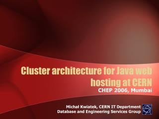 Cluster architecture for Java web hosting at CERN