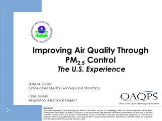 Improving Air Quality Through  PM 2.5  Control  The U.S. Experience