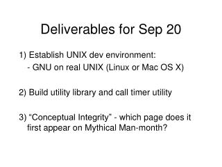 Deliverables for Sep 20