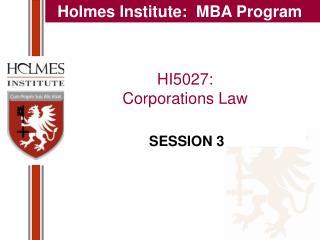HI5027:  Corporations Law