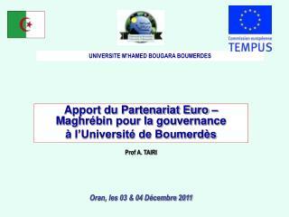 Apport du Partenariat Euro – Maghrébin pour la gouvernance  à l'Université de Boumerdès