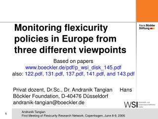 Monitoring flexicurity policies in Europe  from three different viewpoints