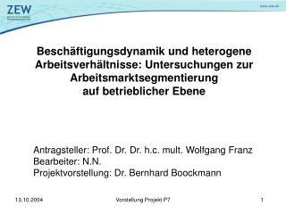 Antragsteller: Prof. Dr. Dr. h.c. mult. Wolfgang Franz Bearbeiter: N.N.
