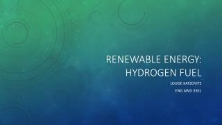 Renewable energy: Hydrogen Fuel