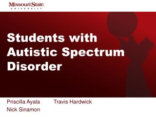 Students with Autistic Spectrum Disorder
