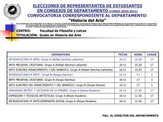 ELECCIONES DE REPRESENTANTES DE ESTUDIANTES  EN CONSEJOS DE DEPARTAMENTO  (CURSO 2010/2011)