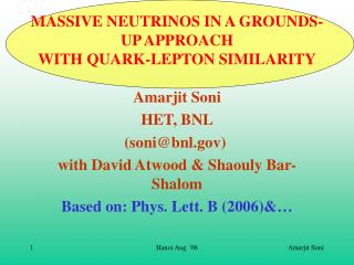 MASSIVE NEUTRINOS IN A GROUNDS-UP APPROACH WITH QUARK-LEPTON SIMILARITY