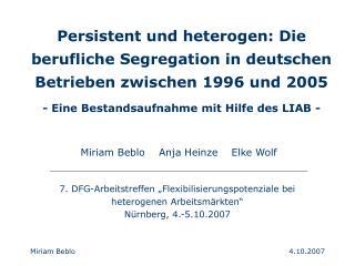 Miriam Beblo    Anja Heinze    Elke Wolf