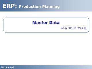 Master Data in SAP R/3 PP Module