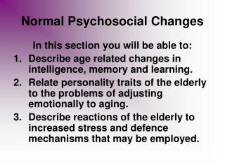 Normal Psychosocial Changes
