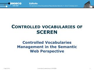 Controlled vocabularies of SCEREN