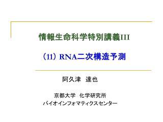 情報生命科学特別講義 III ( 11 )  RNA 二次構造予測
