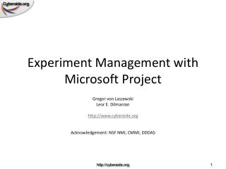 Experiment Management with Microsoft Project