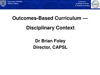 Outcomes-Based Curriculum  —