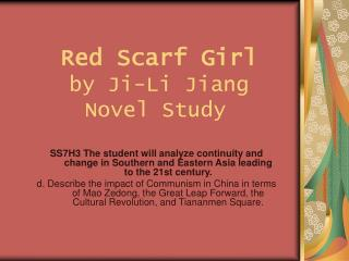 Red Scarf Girl by Ji-Li Jiang  Novel Study