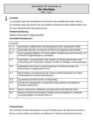 Information für Lehrende zu  Der Atombau Seite 1 von 6