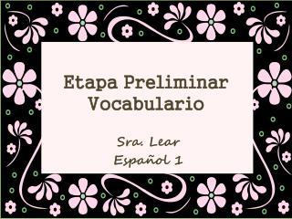 Etapa Preliminar Vocabulario
