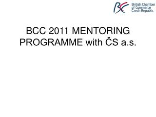 BCC 2011 MENTORING PROGRAMME with ČS a.s.