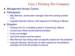Case 1 Fitzburg Tire Company