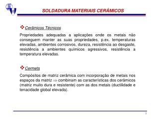 SOLDADURA MATERIAIS CERÂMICOS