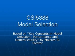 CSI5388 Model Selection