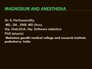 Magnesium and anesthesia