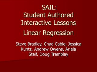 SAIL: Student Authored Interactive Lessons Linear Regression
