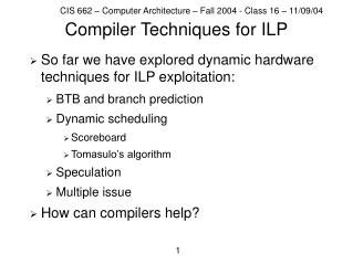 Compiler Techniques for ILP