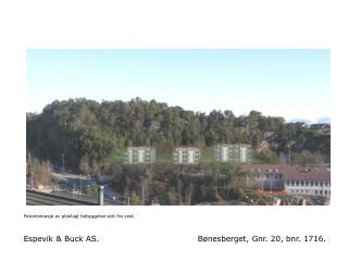 Fotomontasje av planlagt bebyggelse sett fra vest.