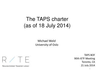 The TAPS charter (as of 18 July 2014)