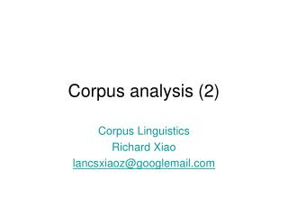 Corpus analysis (2)