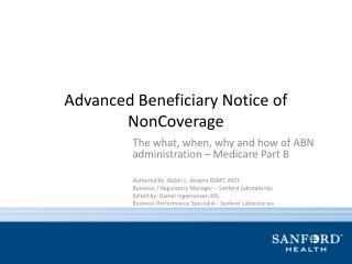 Advanced Beneficiary Notice of  NonCoverage