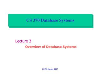 CS 370 Database Systems