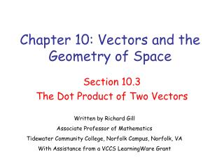 Chapter 10: Vectors and the Geometry of Space