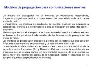Modelos de propagación para comunicaciones móviles