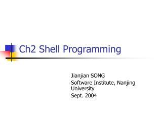 Ch2 Shell Programming