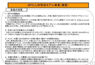 BPO人材育成モデル事業(概要)