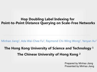 Hop Doub lin g Label Indexing for  Point-to-Point Distance Querying on Scale-Free Networks