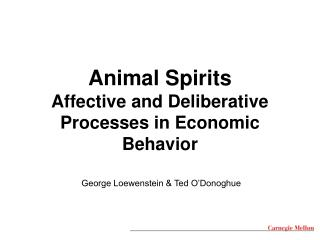 Animal Spirits Affective and Deliberative  Processes in Economic Behavior