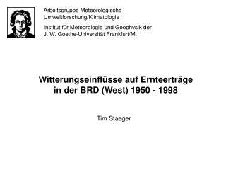 Arbeitsgruppe Meteorologische Umweltforschung/Klimatologie