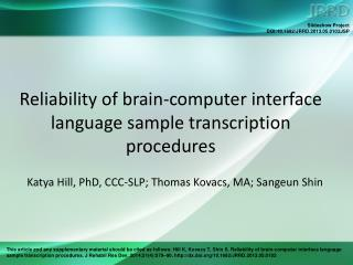Reliability of brain-computer interface language sample transcription procedures